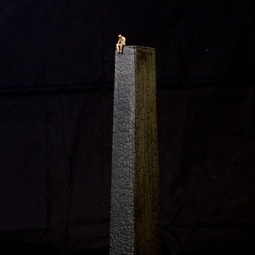 (1200€) Ivory tower, Burnt oak & bronze, 5x7.5x37cm, 2014