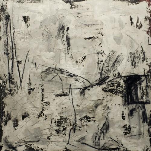 (2500€) Presence, acryl, charcoal & cement, 4x120x120cm, 2014