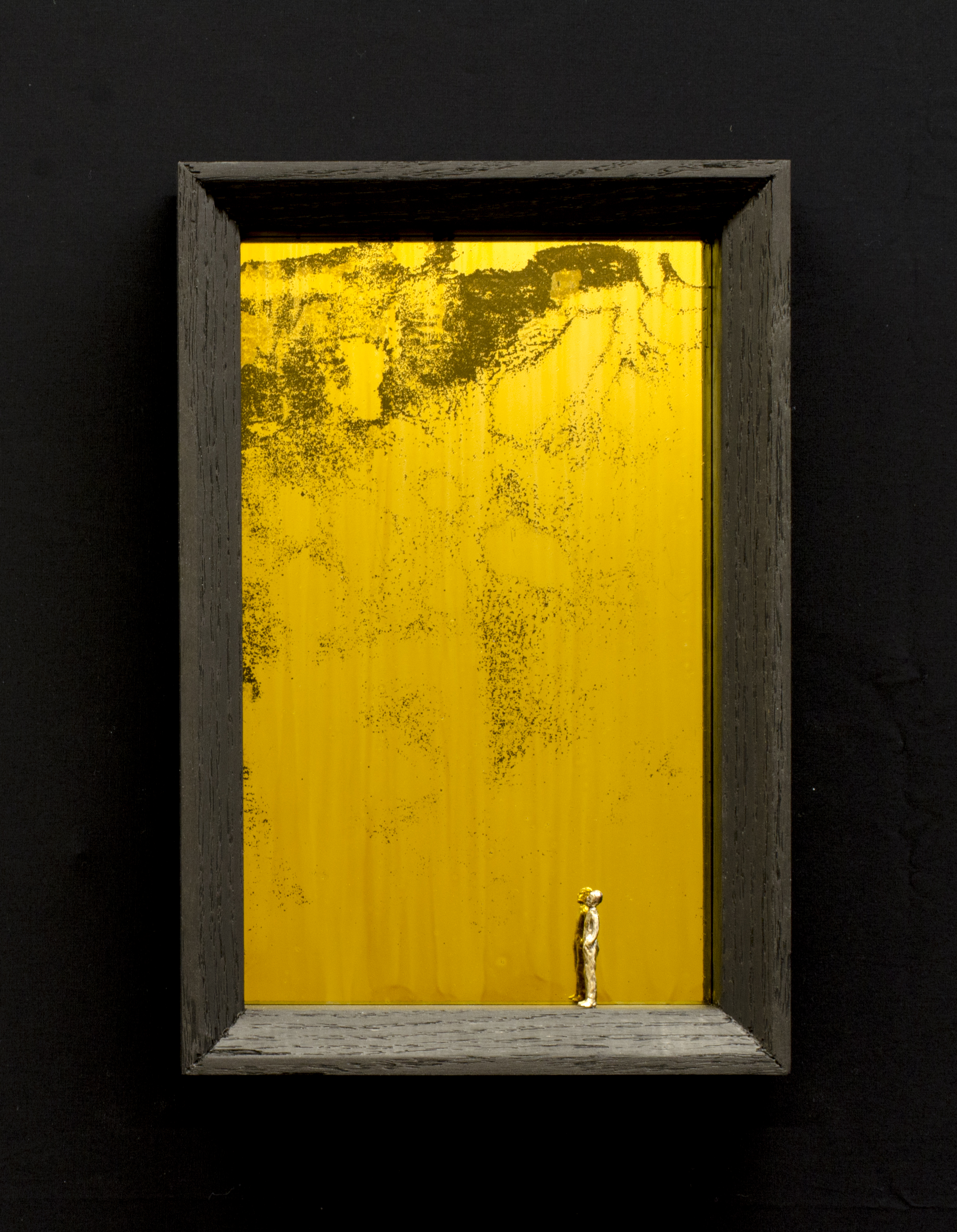 Truth is out there, Oak, bronze & glass, 3.5x19x29, 2014